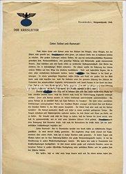 III. Reich - Rundschreiben vom Kreisleiter in Neumünster zur Kriegsweihnacht 1940