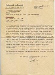 Oberkommando der Wehrmacht - Schreiben bzgl. eines Albums als Erinnerung der gefallenen Soldaten in Dupnica/Bulgarien