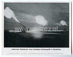 """III. Reich - gedrucktes Pressefoto """"Italienische Flukabwehr eines feindlichen Nachtangriffs in Nordafrika"""" 15.1.1943"""