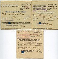 III. Reich - Wohnungsamt der Stadt Riga/Lettland - Zuweisungsschein