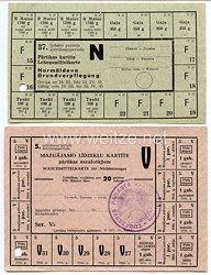 III. Reich / Lettland - Lebensmittelkarte und Waschmittelkarte für Nichterzeuger von 1944-45