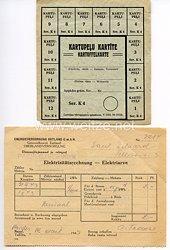 III. Reich / Lettland - Elektrizitätsrechnung und Kartoffelkarte von 1943