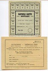 III. Reich / Lettland - Prämienschein/Gutschein und Kartoffelkarte von 1943/44