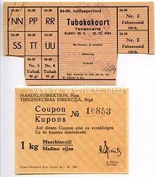 III. Reich / Lettland - Tabakkarte und Coupon für 1 Kg Maschinenöl