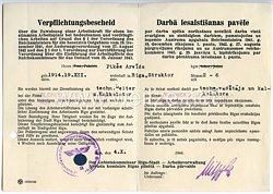 III. Reich - Der Gebietskommissar Riga-Stadt - Arbeitsverwaltung - Verpflichtungsbescheid über die Zuweisung einer Arbeitskraft
