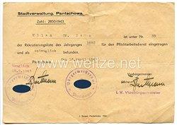 III. Reich - Stadtverwaltung Pantschowa/Serbien - Bescheinigung über den Eintrag in die Rekrutierungsliste für den Pflichtarbeitsdienst