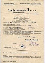 Oberkommando der Wehrmacht ( O.K.W.) Zentralstelle für Passierscheine und Durchlaßscheine - Sonderausweis I für Italien