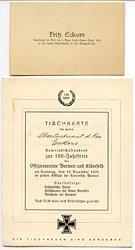 1. Weltkrieg - originale Visitenkarte eines Leutnant d.Res. im I.Bad.Leib-Gren.-Regt.109 z.Zt. beim Sturmbatl.2 Dt.Feldpost 48