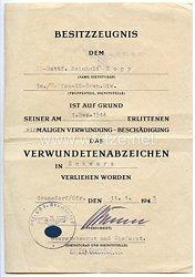 Waffen-SS russische Nr. 2 - Verwundetenabzeichen in Schwarz - Besitzzeugnis