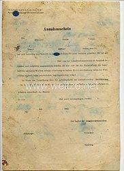 Waffen-SS - Annahmekommission für die SS-Schützen-Division Galizien - Annahmeschein