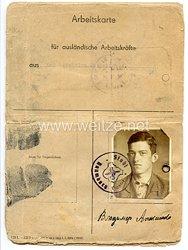 III. Reich - Arbeitskarte für ausländische Arbeitskräfte aus den besetzten Ostgebieten