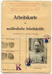 III. Reich - Arbeitskarte für ausländische Arbeitskräfte aus den besetzten russischen Gebieten