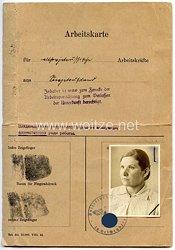 III. Reich - Arbeitskarte für altsowjetrussische Arbeitskräfte aus Sowjetrußland
