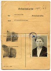 III. Reich - Arbeitskarte für ukrainische Arbeitskräfte aus Altsowjetrußland