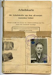 III. Reich - Arbeitskarte für Arbeitskräfte aus dem alt-sowjet-russischen Gebiet