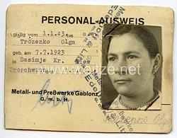 III. Reich - Personalausweis für ein Mädel des Jahrgangs 1923 aus Sasimje/Kiew in der Ukraine