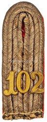 Königreich Sachsen Einzel Schulterstück für einen Leutnant im 3. Infanterie-Regiment Nr. 102 König Ludwig III. Bayern