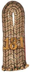 Königreich Sachsen Einzel Schulterstück für einen Leutnant im Königlich Sächsischen 15. Infanterie-Regiment Nr. 181