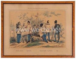 """Österreich K.u.K. Monarchie gerahmte kolorierte Lithographie """"Die K.K. Oesterreichische Armee"""""""