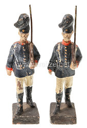 Lineol - 1. Weltkrieg Preussen 2 Soldaten mit Tornister marschierend