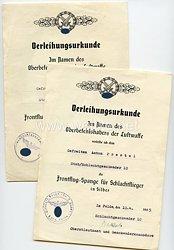 Verleihungsurkunden für die Frontflug-Spange für Schlachtflieger in Bronze und in Silber