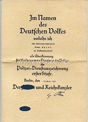 Polizei-Dienstauszeichnung 1. Stufe für 25 Jahre - Verleihungsurkunde