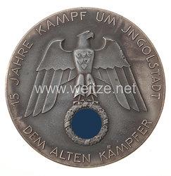 """NSDAP große nichttragbare Erinnerungsplakette """"15 Jahre Kampf um Ingolstadt - Dem Alten Kämpfer"""""""