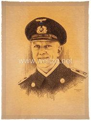 Kriegsmarine Portraitfoto, Bootsmann mit Schirmmütze