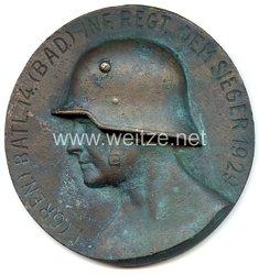 """Weimarer Republik - große nichttragbare Siegerplakette - """" I. (Gren.) Batl. 14.(Bad.) Inf.Regt. dem Sieger 1929 """""""