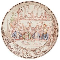 """Frankreich Zierteller zur Weltausstellung 1889 """"Le Banquet des Maires"""""""