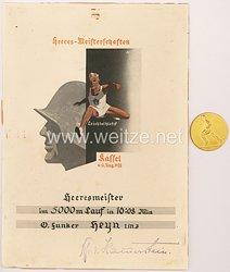 Heeres-Meisterschaften in Leichtathletik in Kassel vom 4.-6.8.1933 - nichttragbare Siegermedaille mit Urkunde