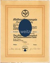 III. Reich - Handelskammer Berlin - Meisterpfüfungszeugnis für einen Mann des Jahrgangs 1905 aus Zirke