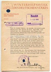 WHW Gau Sachsen - Winterhilfswerk des Deutschen Volkes 1942-1943 - Anschreiben