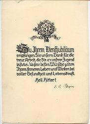 III. Reich - Nationalsozialistischer Lehrerbund ( NSLB ) Sachsen - Schmuckblatt zum Dienstjubiläum