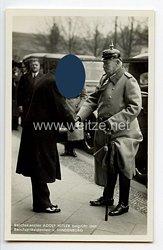 """III. Reich - Propaganda-Postkarte - """" Reichskanzler Adolf Hitler begrüßt den Reichspräsidenten v. Hindenburg """""""