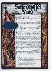 """III. Reich - farbige Propaganda-Postkarte - """" Horst Wessel Lied """""""