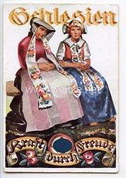 "III. Reich - farbige Propaganda-Postkarte - "" Schlesien - Kraft durch Freude """