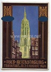 """III. Reich - farbige Propaganda-Postkarte - """" NSLB-Reichstagung Frankfurt a.M. 3.-5. August 1934 """" ( Nationalsozialistischer Lehrerbund )"""