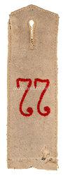 Preußen 1. Weltkrieg Einzel Schulterklappe Feldgrau für den Waffenrock Mannschaften im 2. Hannoverschen Infanterie-Regiment Nr. 77