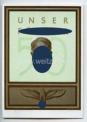 "III. Reich - farbige Propaganda-Postkarte - "" Adolf Hitler - 50. Geburtstag - Unser Führer 1889-1939 """