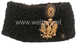 Zaristisches Rußland Pelzmütze für Offiziere der Dragoner Regimenter