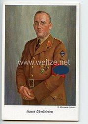 "III. Reich - farbige Propaganda-Postkarte - "" Hanns Oberlindober - Führer der Nat.-Soz.-Kriegsopferversorgung """