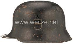 3. Reich Deutsche Reichsbahn Bahnschutz Stahlhelm mit 2 Emblemen