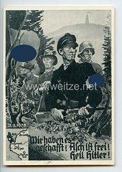 """III. Reich - Propaganda-Postkarte """" Wir haben es geschafft ! Asch ist frei ! Heil Hitler ! 21.9.1938 """""""