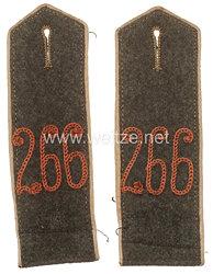 Preußen 1. Weltkrieg Paar Schulterklappen feldgrau für die Bluse für Mannschaften im Reserve-Infanterie Regiment Nr. 266
