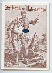 """III. Reich - farbige Propaganda-Postkarte - """" Der Dank des Vaterlandes - Allen Gau- und Ortsgruppenführern für Versammlungen empfohlen """""""