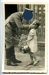 """III. Reich - Propaganda-Postkarte - """" Adolf Hitler - Die kleine Gratulantin """""""