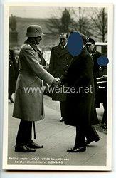 """III. Reich - Propaganda-Postkarte - """" Reichskanzler Adolf Hitler begrüßt den Reichswehrminister v. Blomberg """""""