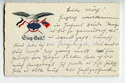 """III. Reich - farbige Propaganda-Postkarte - """" Sieg Heil ! """""""