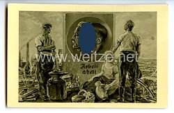 """III. Reich - Propaganda-Postkarte - """" Hindenburg / Hitler - Arbeit adelt - Deutsche Arbeitsfront Winter 1933/34 """""""